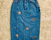 Upcycled ASOS Denim Midi Skirt w/ Velvet Stars
