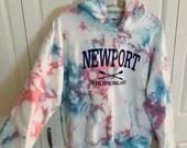 Pink & Blue Tie Dye White Newport Rhode Island Hoodie Sweatshirt