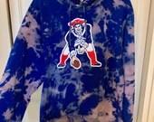 Blue Tie Dye New England Patriots Hoodie Sweatshirt