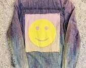 Upcycled Ombré Tie Dye Purple Acid Wash Denim Shirt - Pink & Yellow Smiley