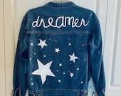 "Upcycled Denim Jacket - ""Dreamer"" Stars & Embellishment"