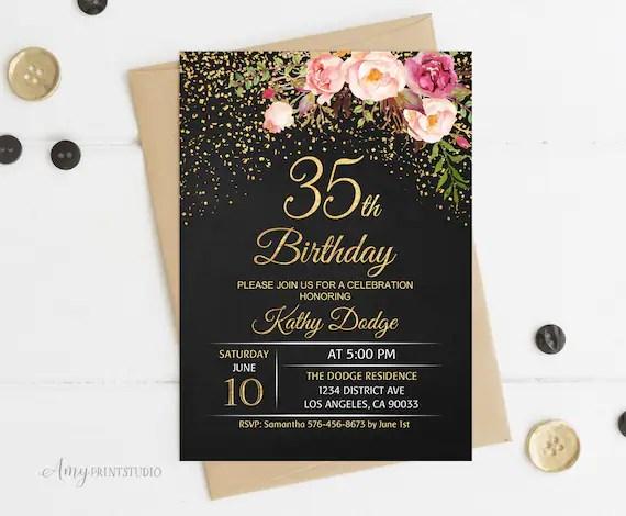 35th birthday invitation floral women birthday invitation chalkboard birthday invite personalized digital file w16