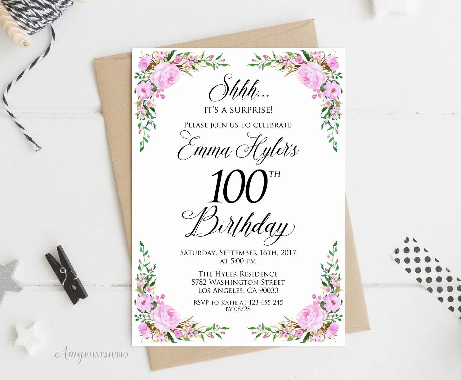100th birthday invitation purple floral birthday invitation any age birthday invite purple invite personalized digital file w63