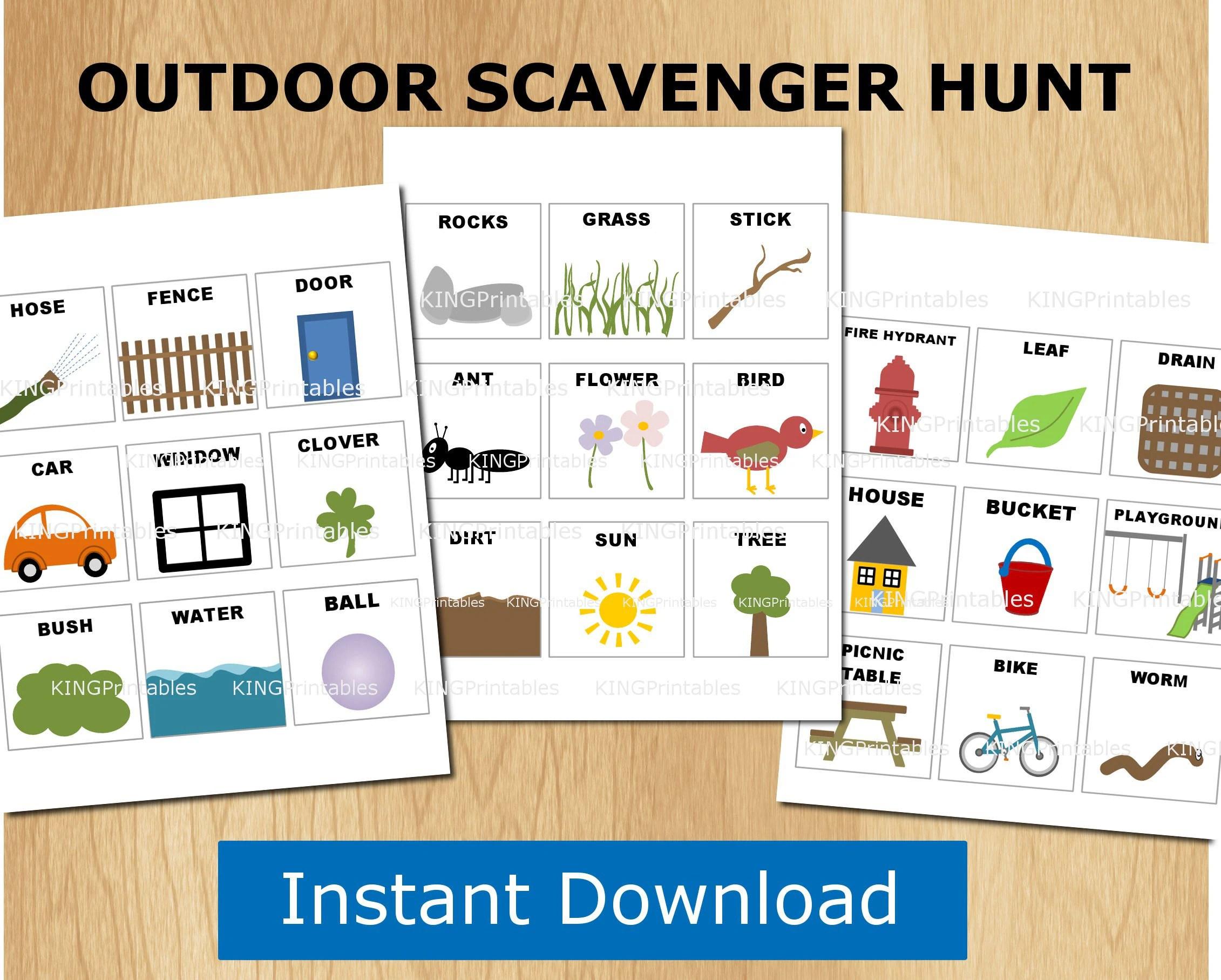 Scavenger Hunt Kids Printables Toddler Outdoor Games Nature