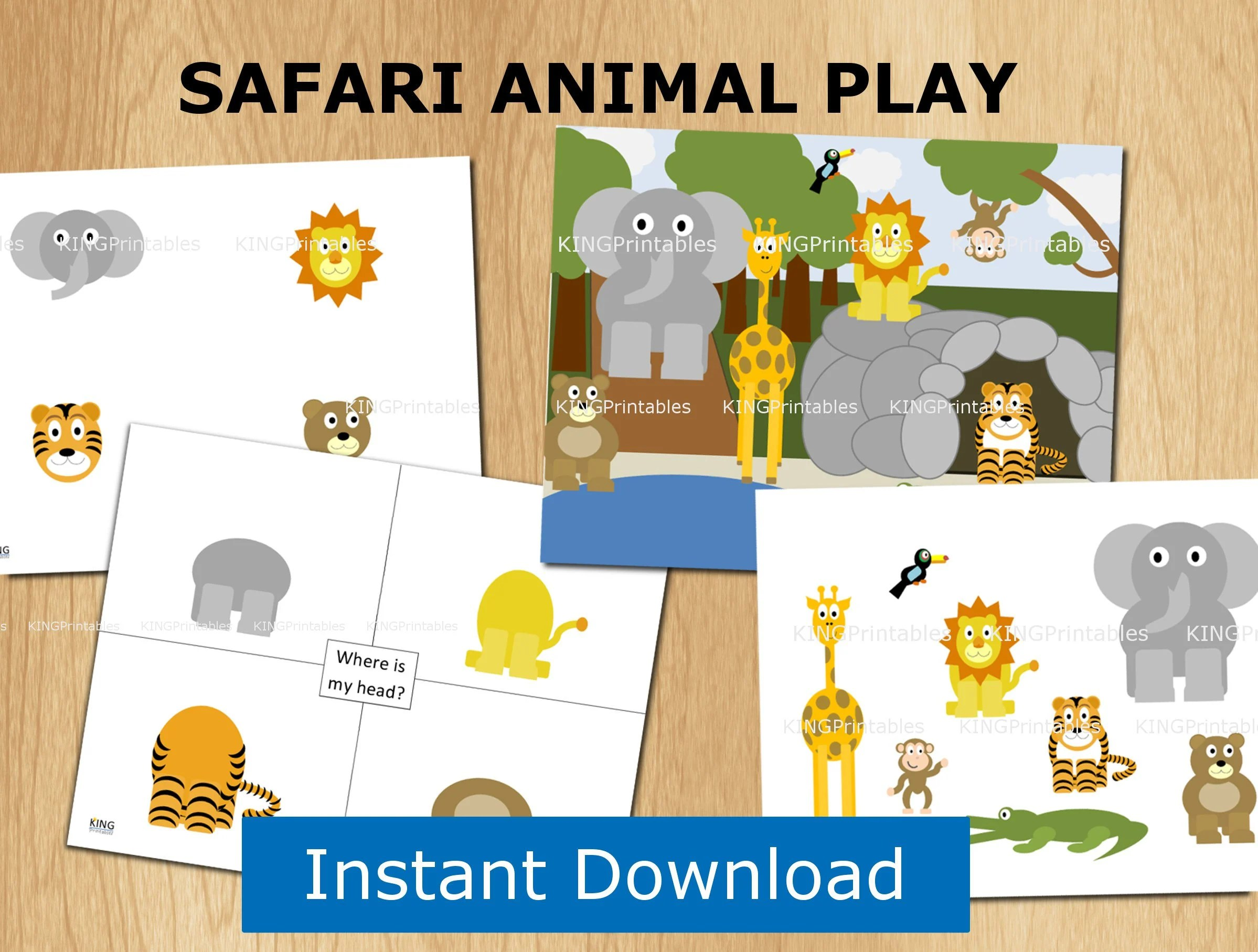 Jungle Animals Printable Quiet Book Page File Folder Games
