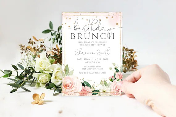 birthday brunch invitation for her 30th birthday invitation blush florals and gold accents 100 editable text instant download p24