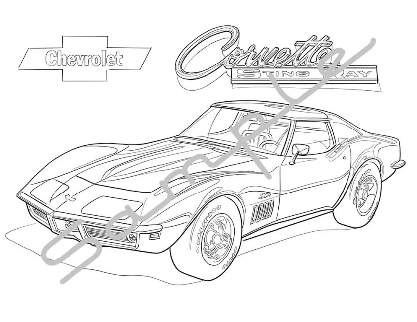 chevrolet corvette stingray adult coloring page  etsy