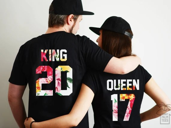 King And Queen Shirts Couple T Shirt Couple Tees King Queen Etsy