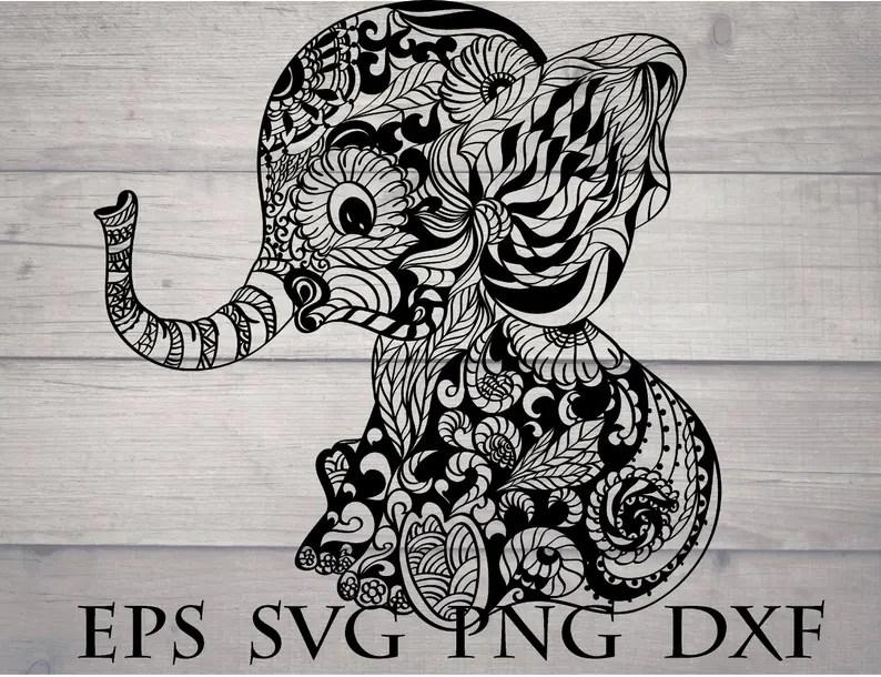 Download Elephant mandala svg baby elephant cricut | Etsy