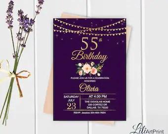 55th birthday invite etsy