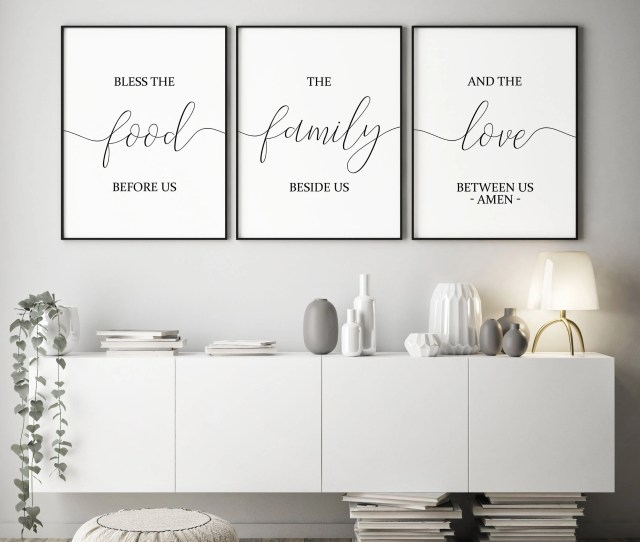 Set Of  Printablebless The Food Before Usdining Room Decor Kitchen Wall Arthome Decorkitchen Decorkitchen Signsbible Verse Wall Art