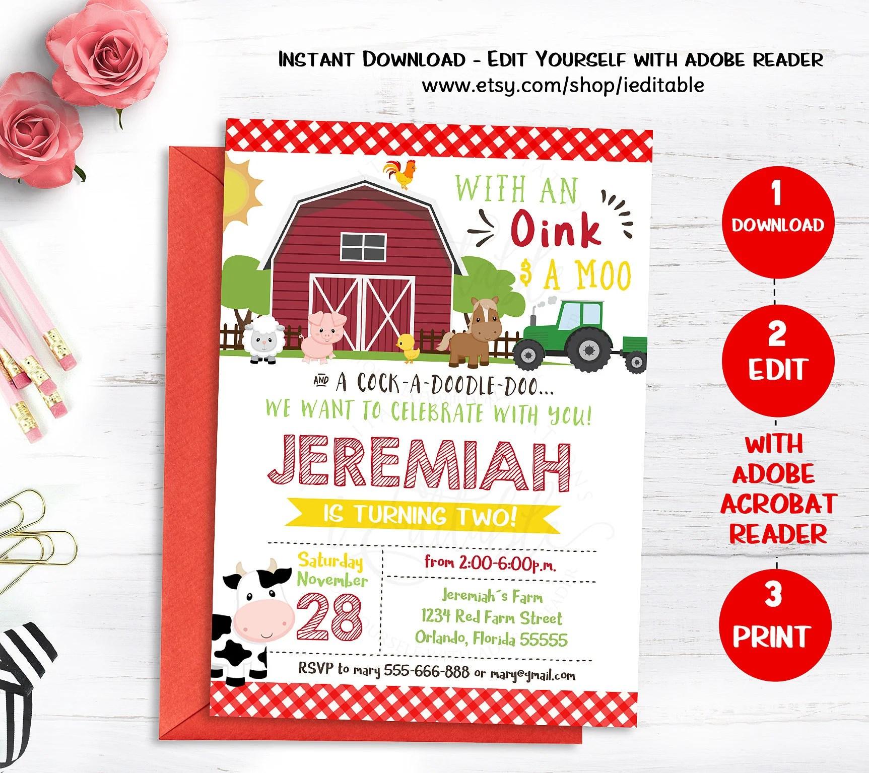 farm birthday invite etsy