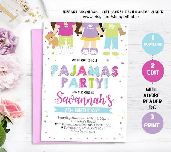 pajama party birthday invitation pjs