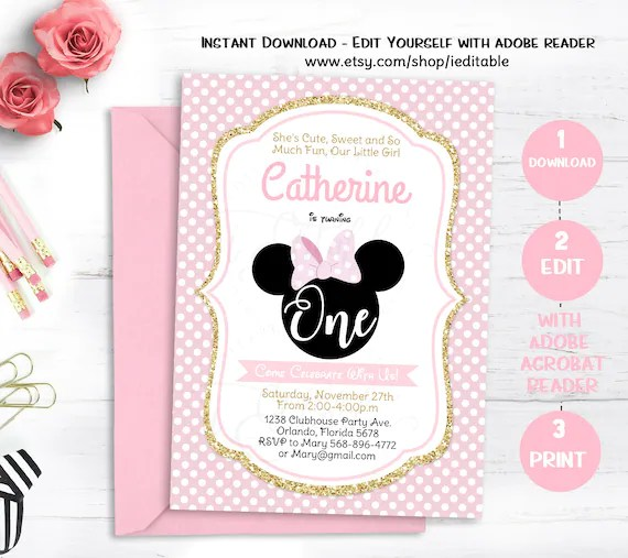 pink and gold minnie mouse birthday invitation black first birthday 1st birthday girls editable invitation template instant download