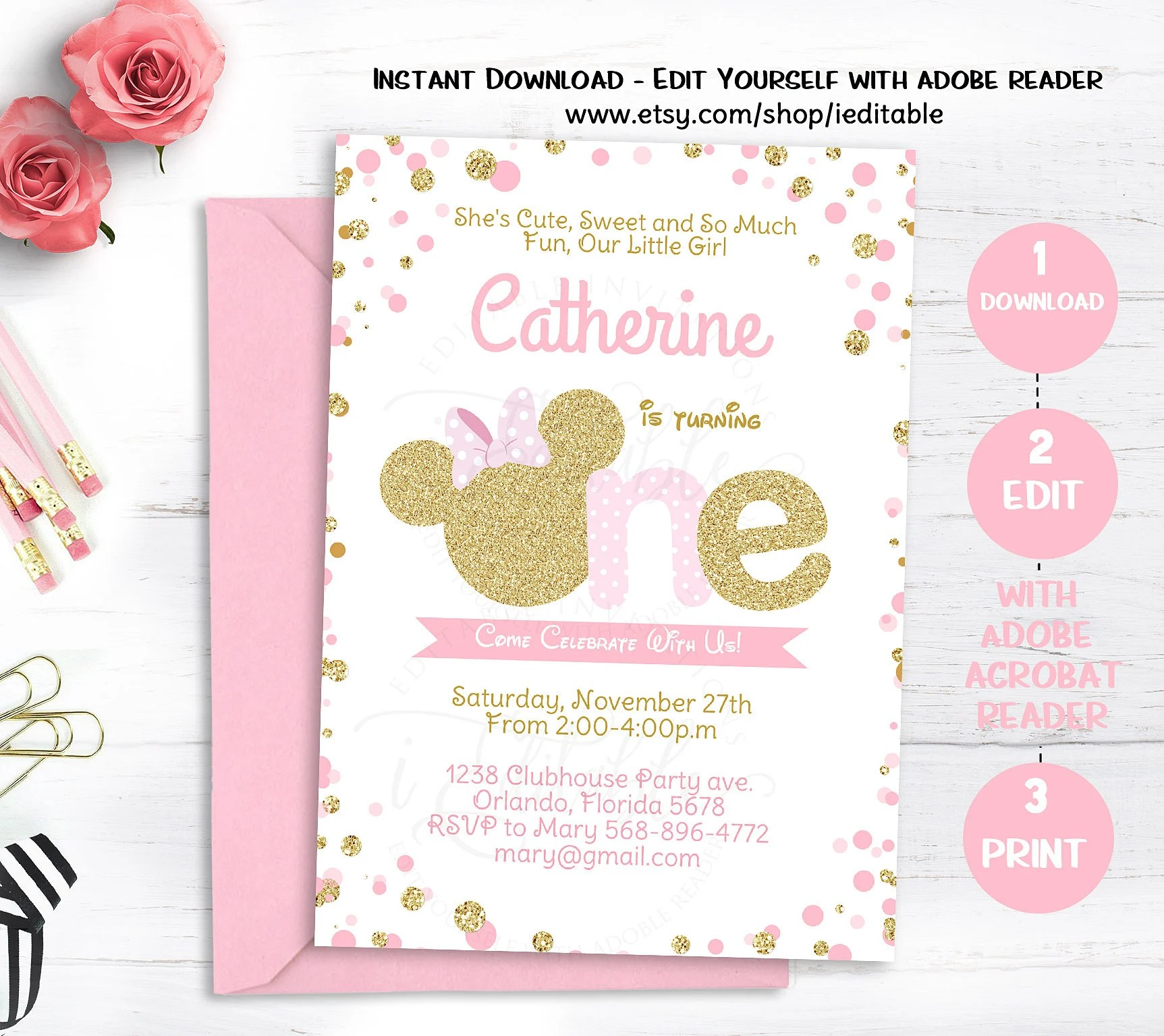 Pink And Gold Minnie Mouse Birthday Invitation Polka Dot First Birthday 1st Girls Invite Editable Invitation Template Instant Download By Ieditable Catch My Party