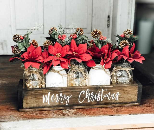 Christmas Clearance Christmas Mason Jar Christmas Centerpiece Mason Jar Christmas Christmas Table Decor Christmas Decor Holiday Decor
