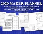 2020 Printable Maker Planner Bundle | 7 Page Types, 20 Total Variations | Week on One Page | Fillable Half Letter Inserts | Instant Download