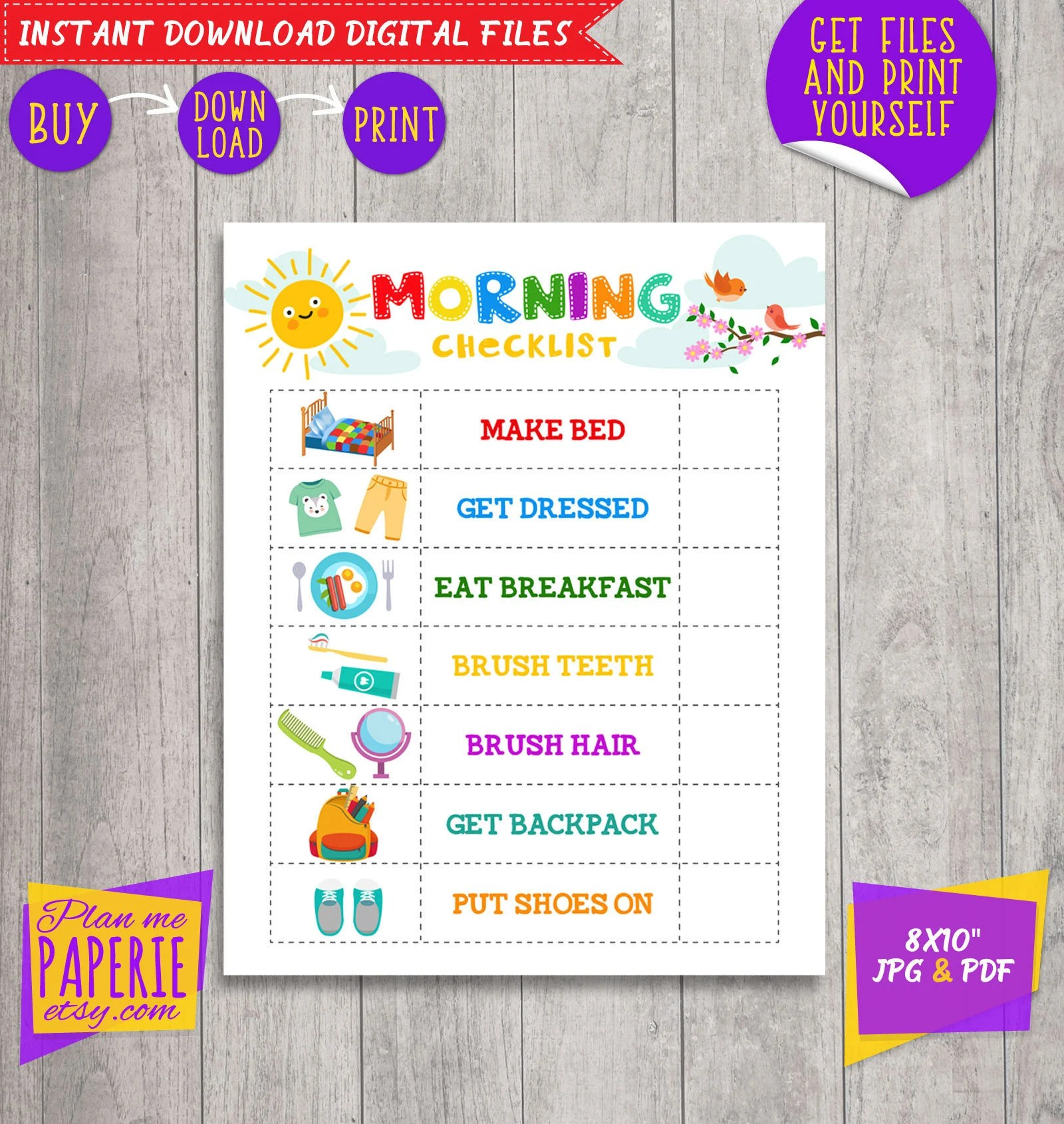 Morning Checklist Morning Routine Chart Kids To Do Morning