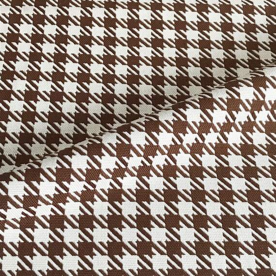 Brown Ivory Houndstooth Upholstery Fabric Etsy