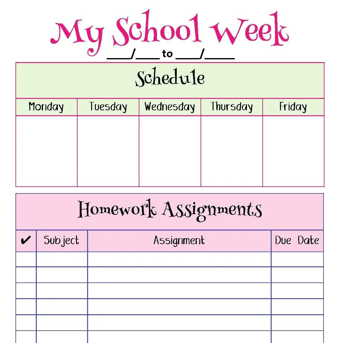 My School Week Homework Planner