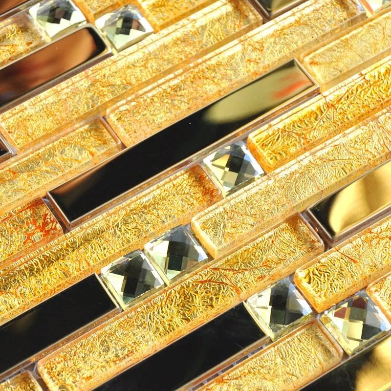 gold glass and metal backsplash tile 10101 12x12 etsy