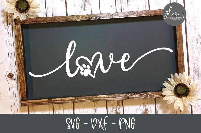 Download Love Paw Print Digital Cutting File SVG DXF & PNG | Etsy