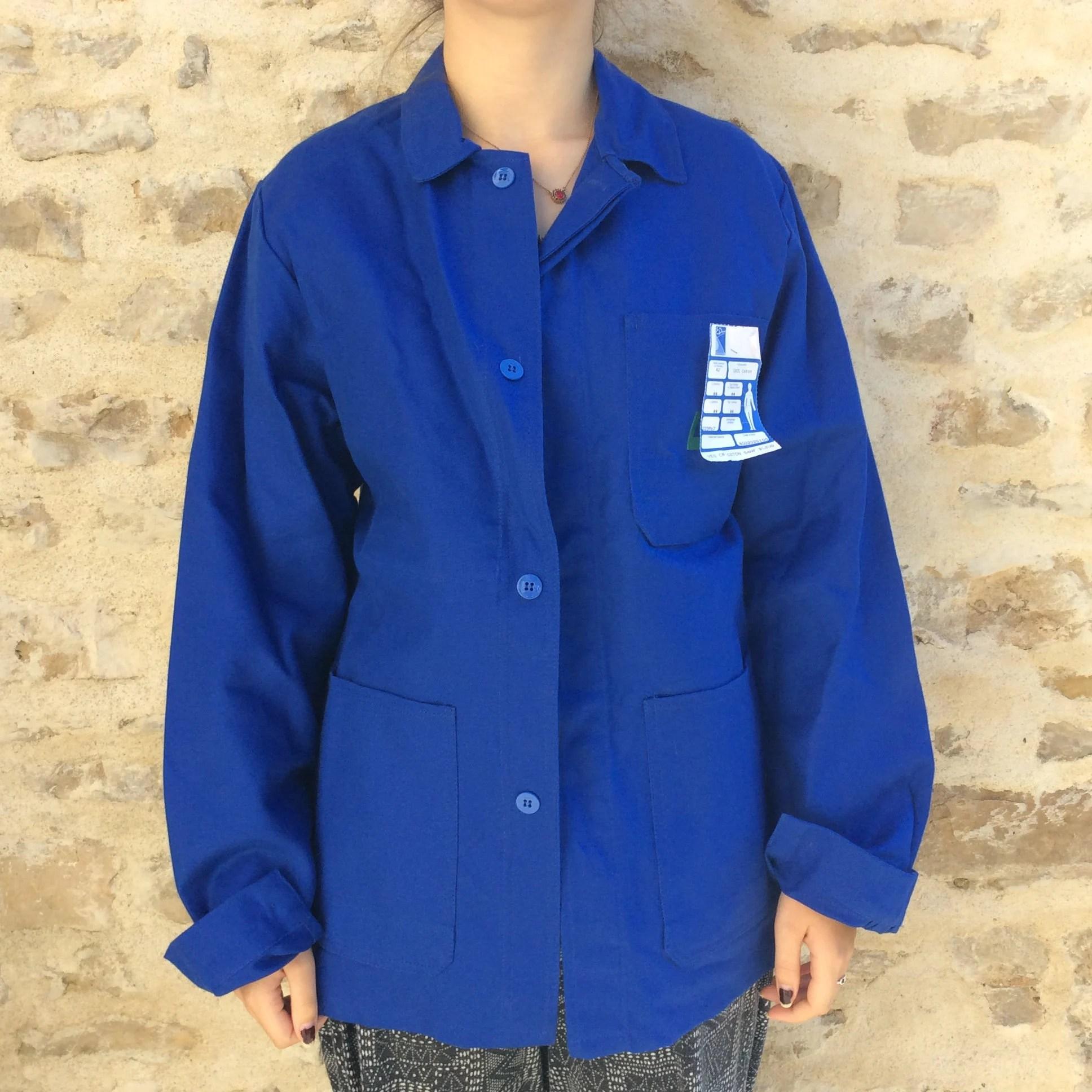vintage bleu de travail blue work jacket french workwear never worn vintage chore jacket