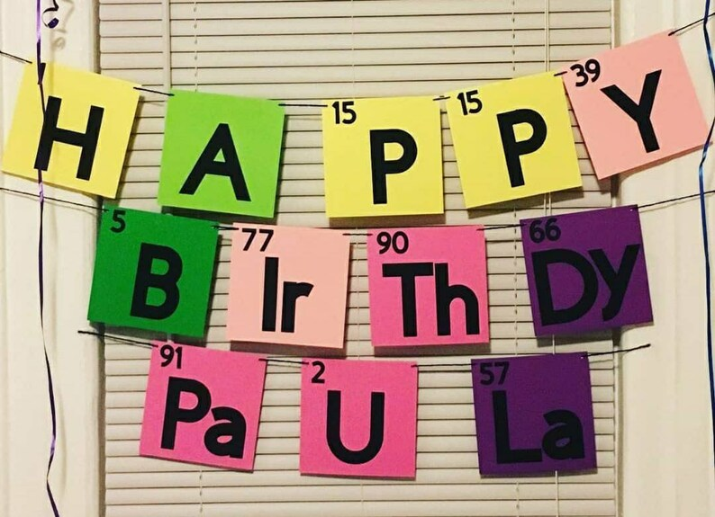 Science Periodic Table Happy Birthday Banner Banners Signs Party Decor Jewellerymilad Com