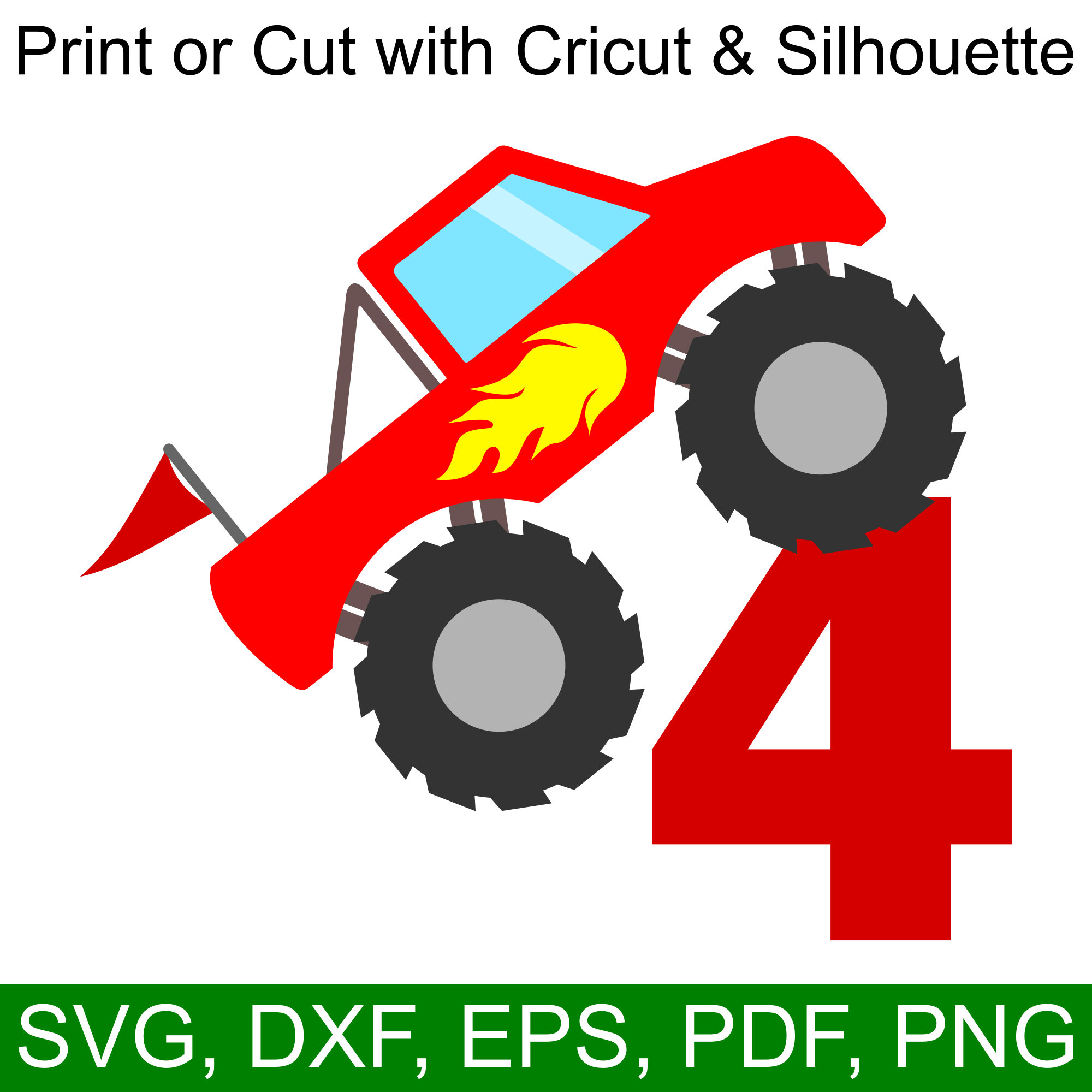 Monster Truck 4th Birthday Svg And Printable Clipart To