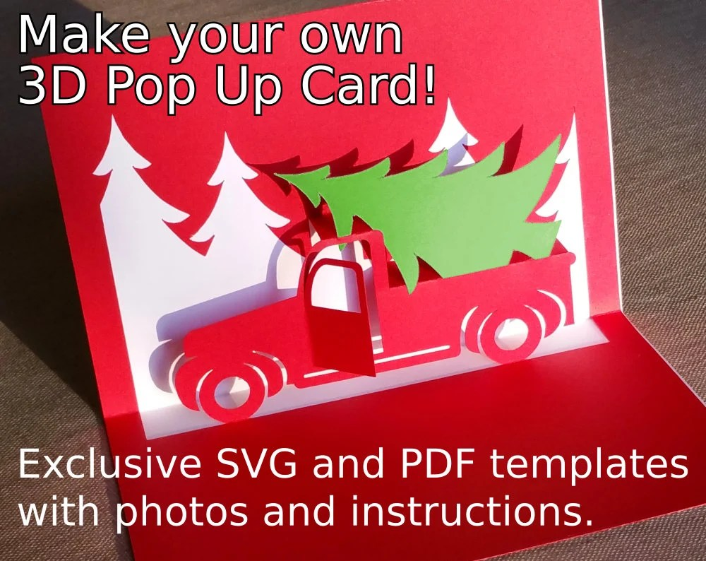 Christmas Truck Popup Card Template SVG Amp PDF For Cricut