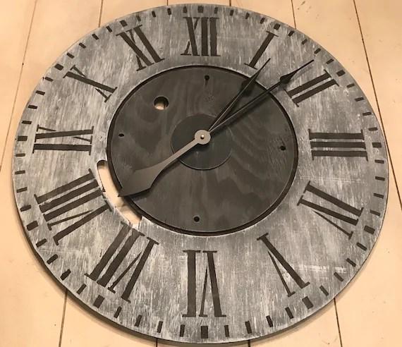 Oversized Wall Clock Rustic Clock Farmhouse Clock Wood Etsy