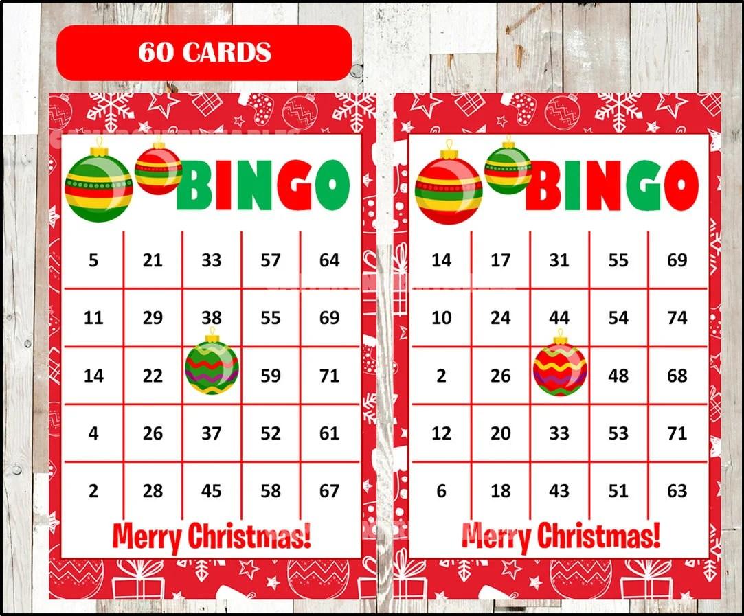 Printable 60 Christmas Bingo Cards Printable Christmas