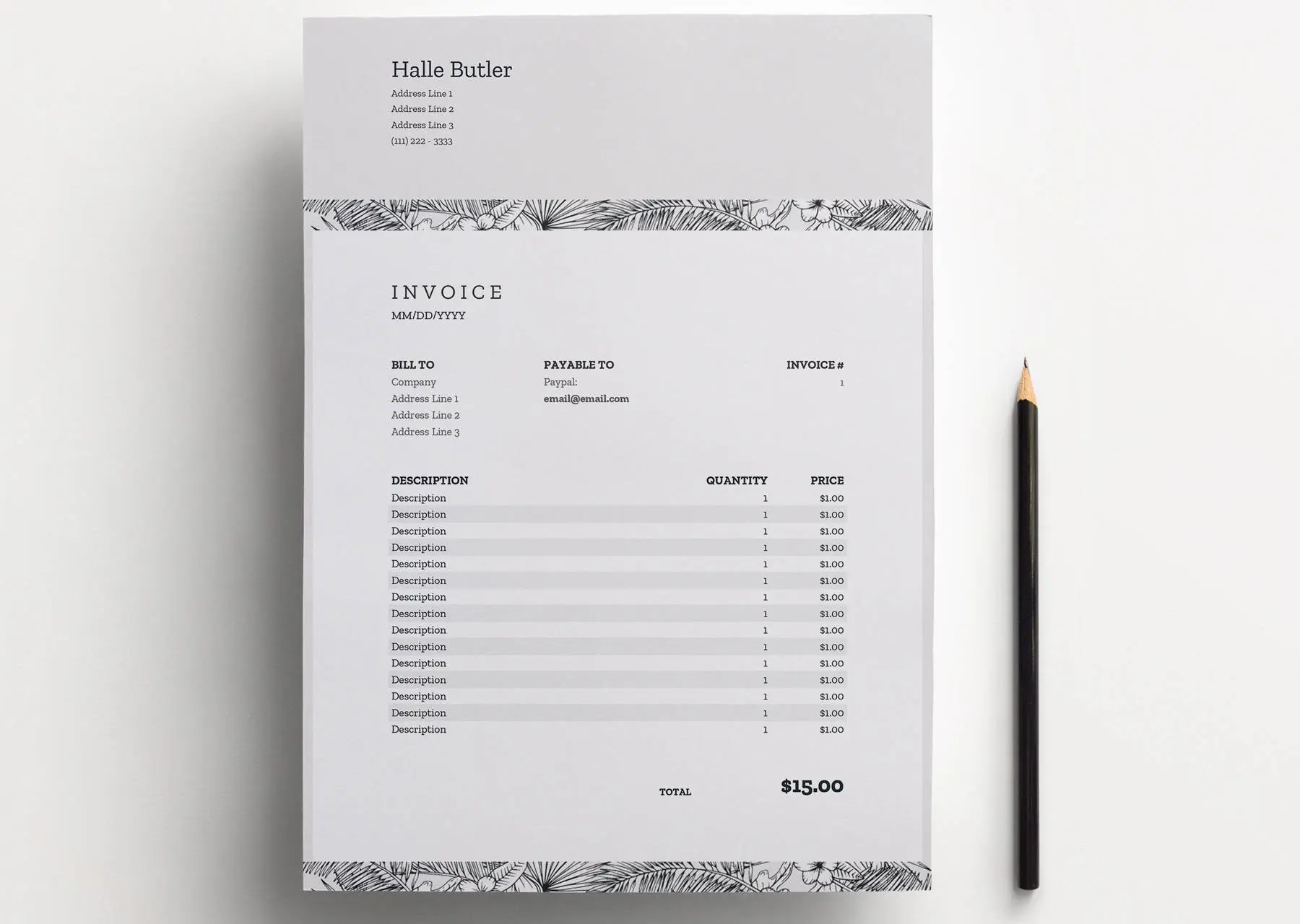 Excel invoice   Etsy Invoice   Excel   Google Sheets  Receipt Template  Invoice Design  Billing  Template  Instant Download Clean Invoice Spreadsheet  Printable