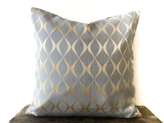 grey gold woven pillow cover 26x26 euro sham gray throw pillow gold grey decorative pillow cushion cover accent pillow embroidered pillow