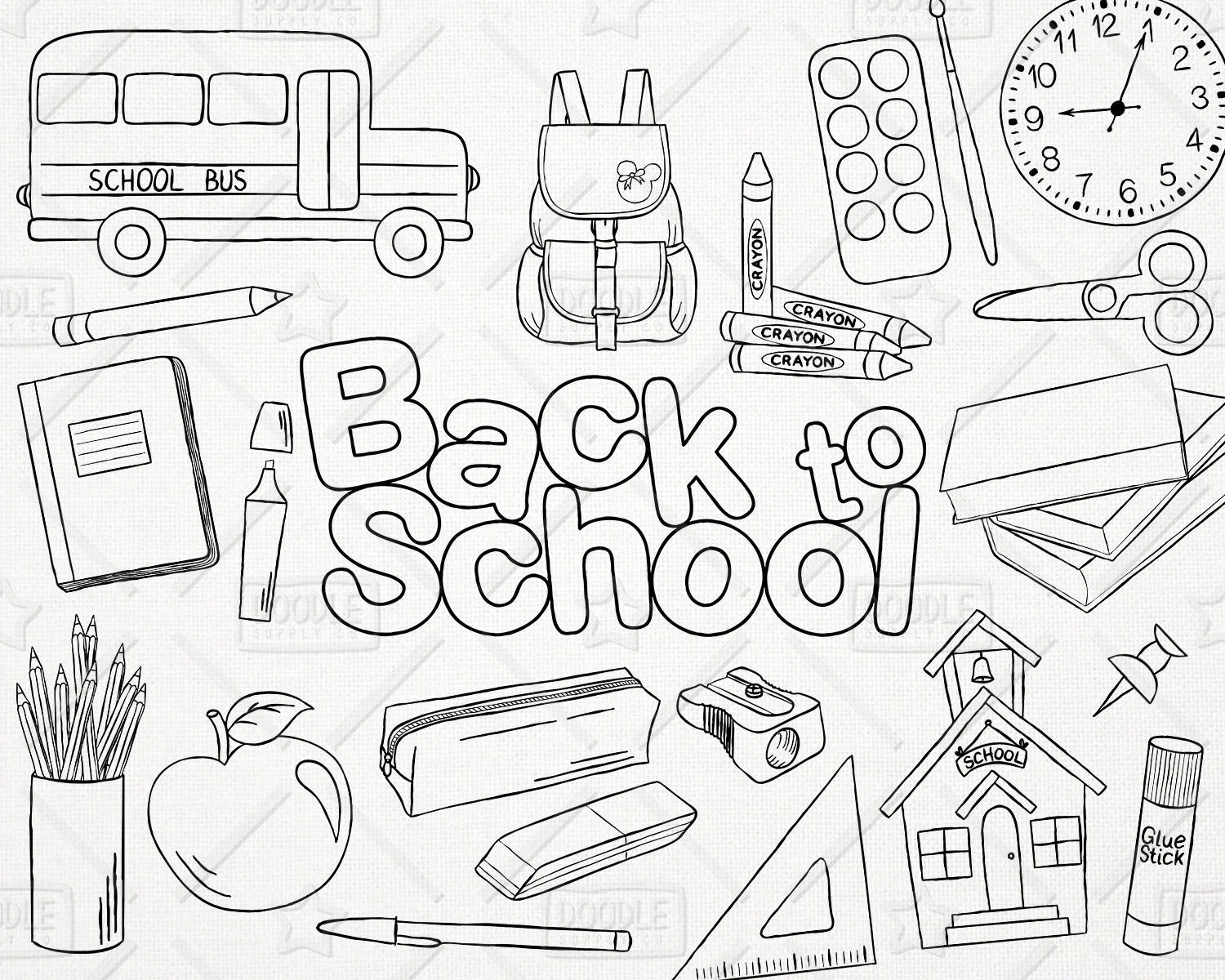 Doodle Back To School Vector Pack Hand Drawn School