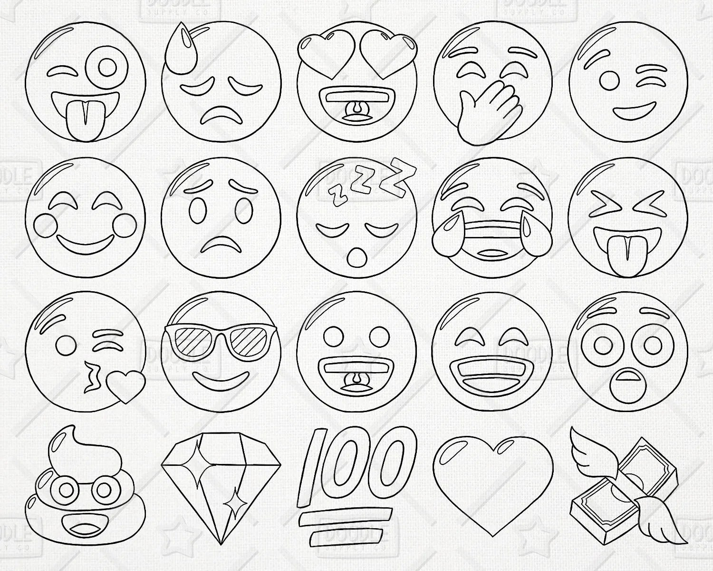 Doodle Emoji Vector Pack Smiley Caras Imagenes