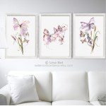 Set 3 Butterfly Wall Art Prints Flowers Watercolor Painting Etsy