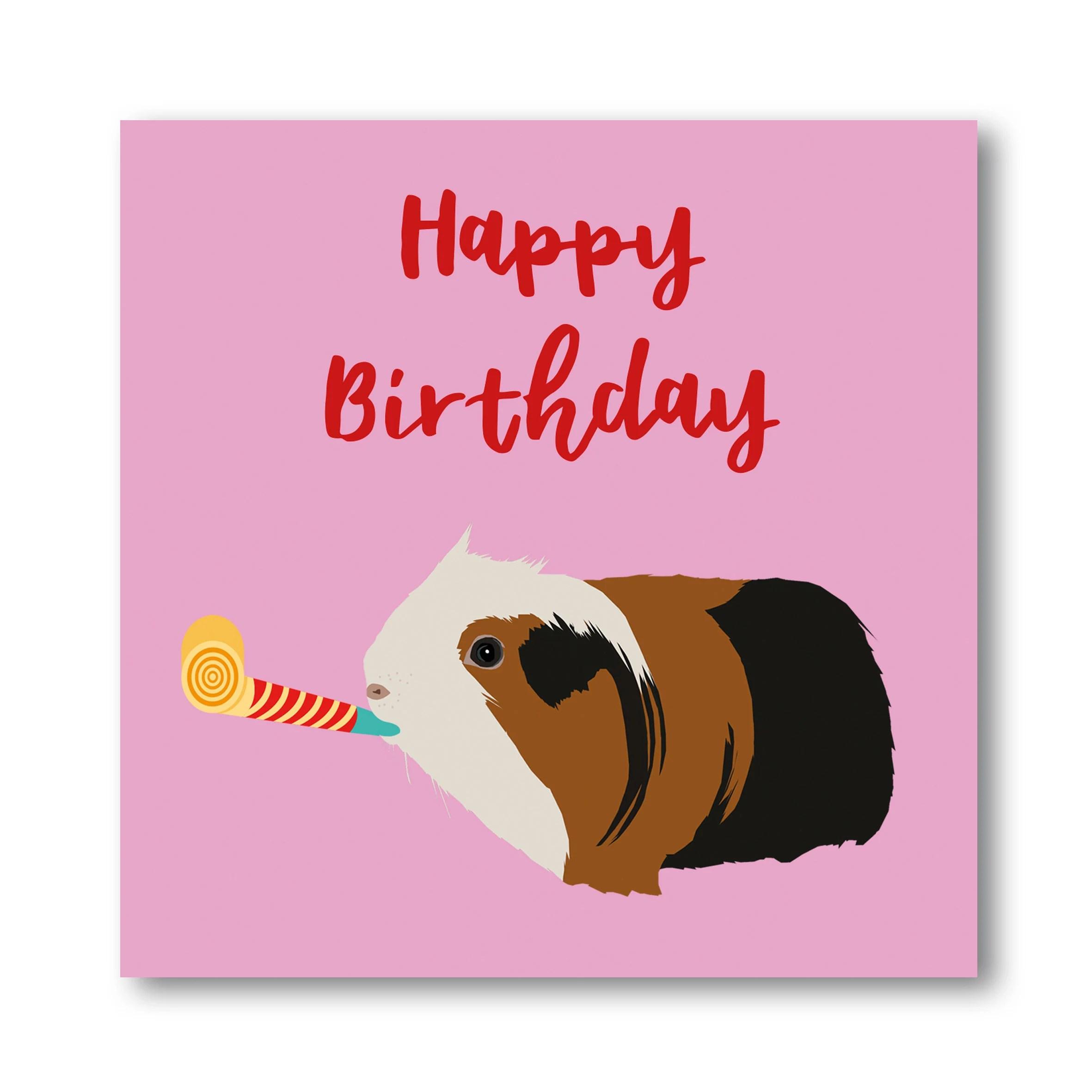 Guinea Pig Happy Birthday Card Cavy Birthday Card Fun Guinea Etsy