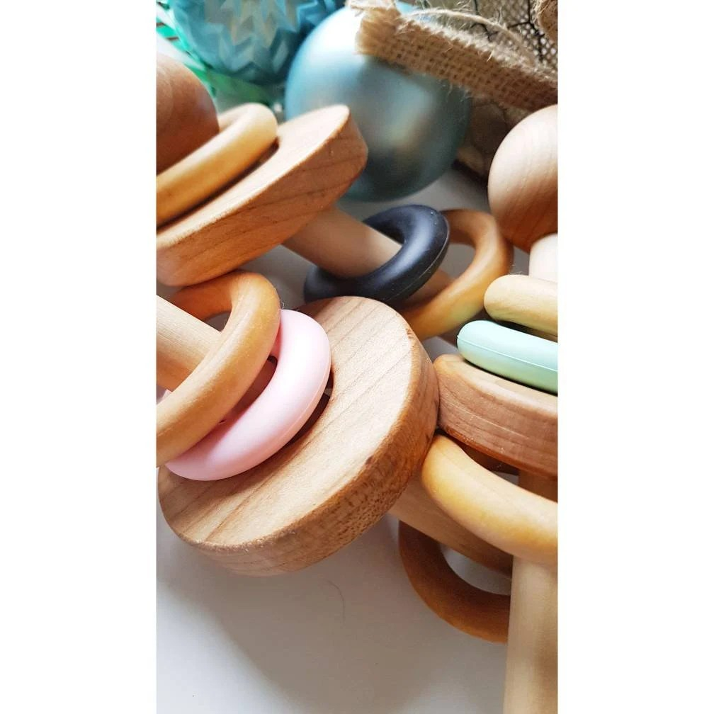 Wooden Rattle Perfect gift for new Baby & Mom image 4