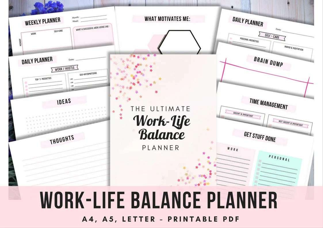 Work Life Balance Printable Planner Productivity Planner