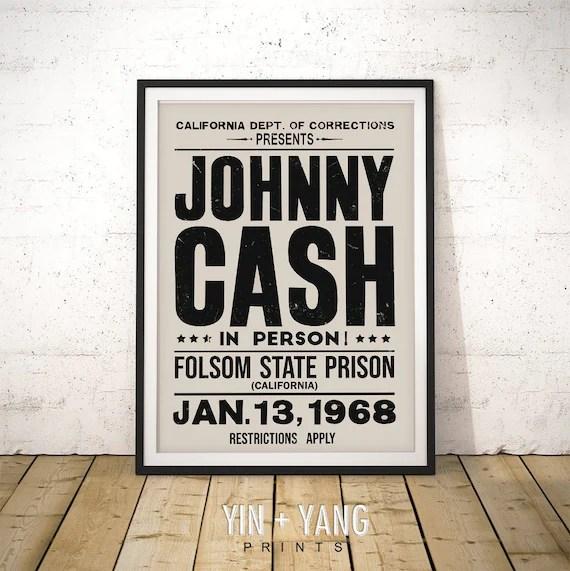 johnny cash print johnny cash concert poster johnny cash wall art folsom prison print johnny cash folsom prison 1968 boho wall decor