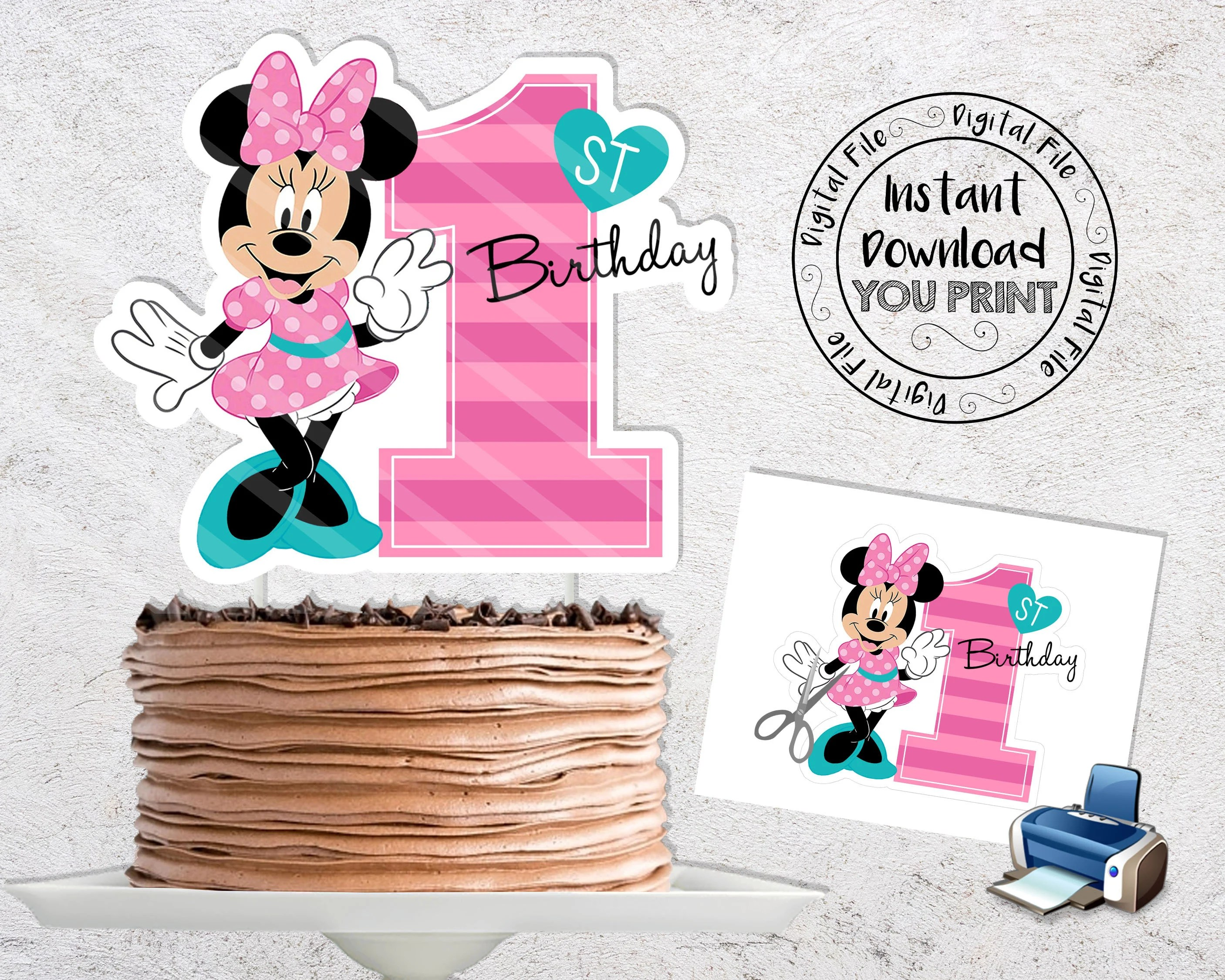 Baby Minnie Mouse 1st Birthday Printable Cake Topper Baby Etsy