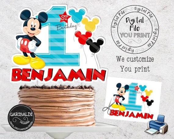 Printable Mickey Mouse 1st Birthday Cake Topper Custom Mickey Etsy