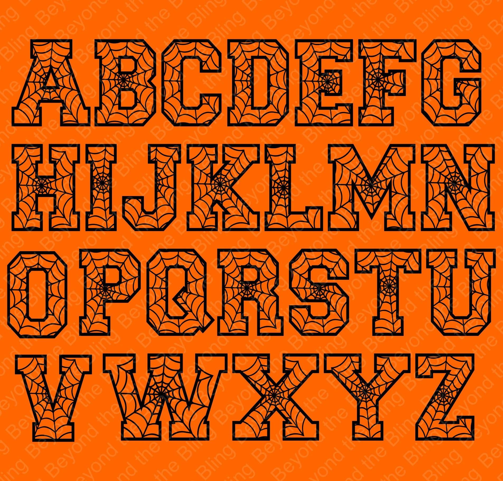 Spiderweb Alphabet Halloween Spiderweb Digital Download