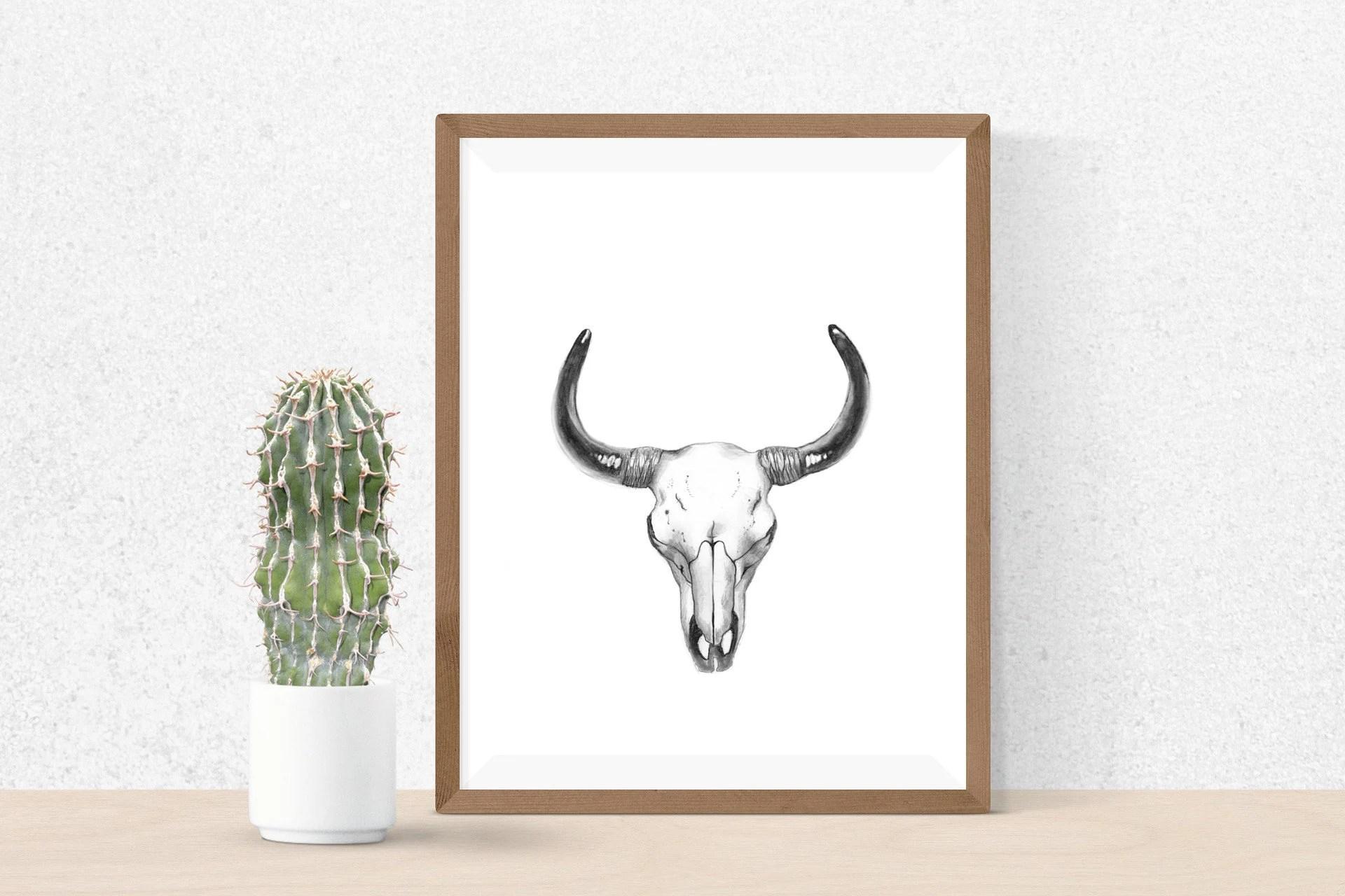 Boho Cow Skull Drawing Cow Skull Printable Wall Art Wall