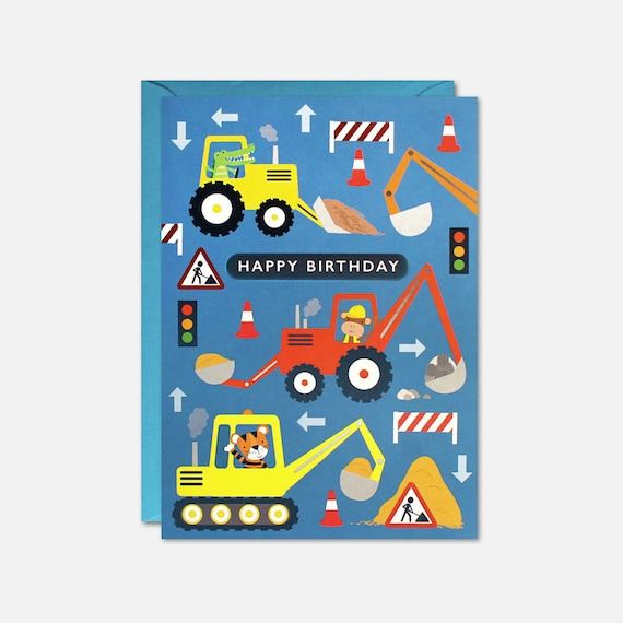 Diggers Kids Birthday Card By James Ellis Etsy