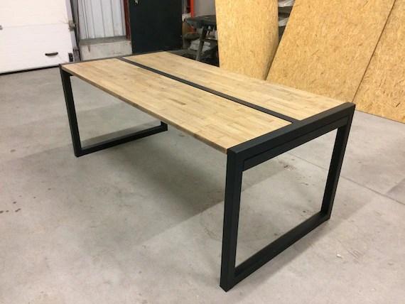 table metal et chene massif avec rallonges