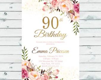90th birthday invitations etsy