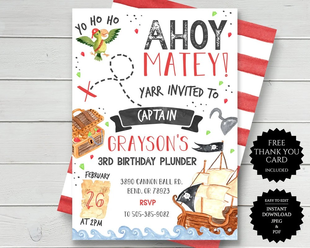 pirate party invite etsy