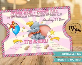 Dumbo Baby Shower Invitation It S A Boy Baby Shower Etsy